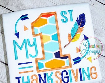 My 1st Thanksgiving Digital Machine Embroidery Applique Design 4 Sizes, 1st thanksgiving applique, first thanksgiving applique embroidery