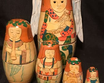 Vintage Angels Nesting Boxes Set of 5 Nesting Dolls Wooden Angels SALE PRICE was 20.00 now 16.00
