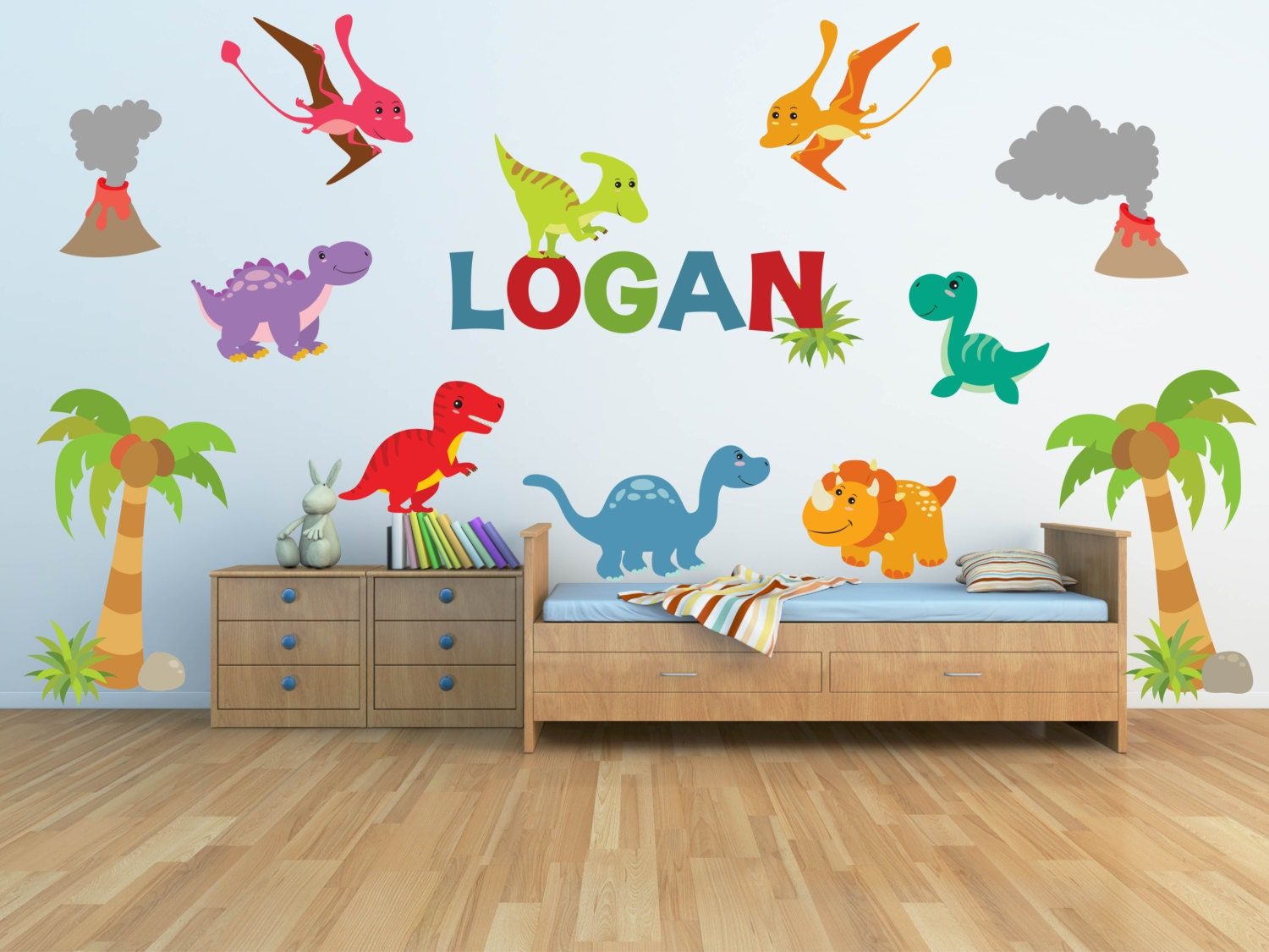 Dinosaur wall decal for kids bedroom personalized name for Nice ideas dinosaur decals for walls