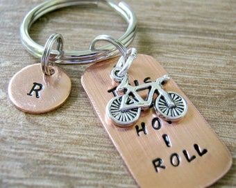 Biking Keychain, Bike Keychain, This is How I Roll Keychain, Bike Charm, Cycling keychain, bike rider keychain, bike riding keychain