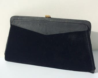 Vintage 40s 50s VELVET and SILK Clutch Purse 2 Bags in 1