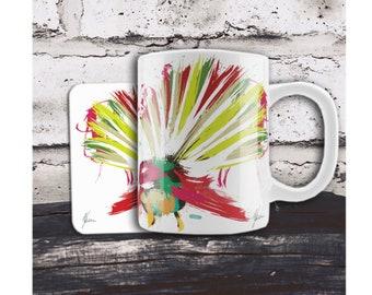Colorful bird Cup. Bird Mug. Mug and Coaster, Native NZ Fantail bird print, UK Artist