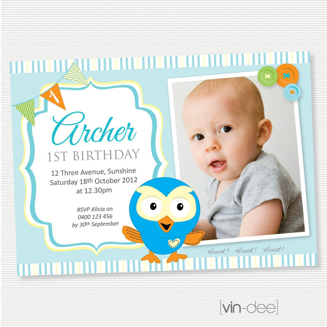 The Owl Birthday Invitation with Photo DIY Printable
