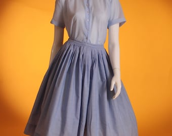 Vintage 1950's Blue Chambray Cotton Pleated Full Circle Skirt by 'Muriel Ryan' UK Size 6 US 2