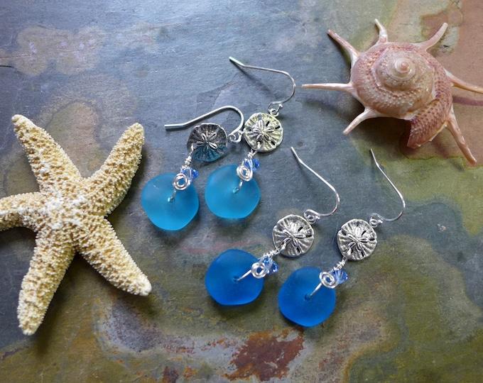 Blue Sea Beach Glass Earrings in Sterling Silver Earwires, Blue Sea Glass Earrings, Beach Weddings, Blue earrings-You Pick Your Favorite