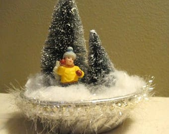 Silver Tart Pan Christmas/Winter Scene