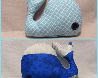 Handmade patchwork stuffed whale toy