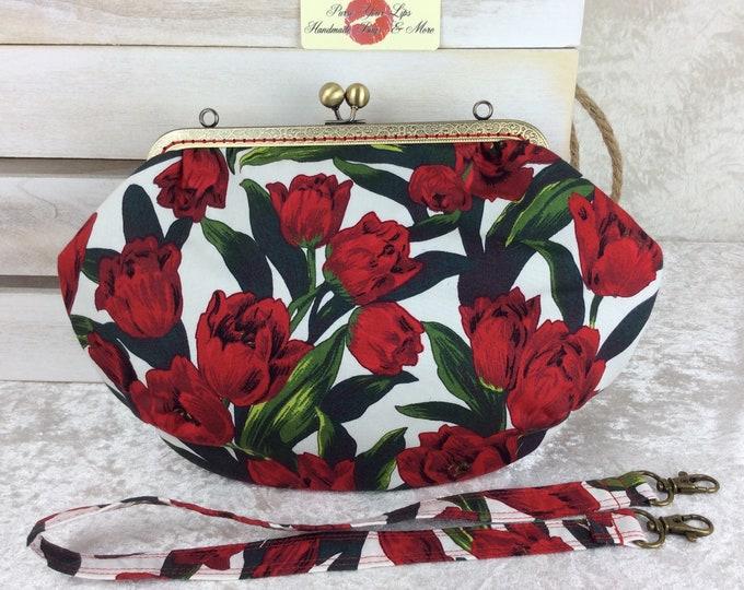 Tulips Fabric purse bag frame handbag fabric clutch shoulder bag frame purse kiss clasp bag Handmade