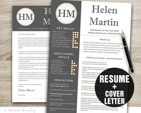 Captivating Classy Resume Template / Instant Download Resume Cover Letter