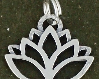 Sterling Silver Lotus Flower Charm Pendant