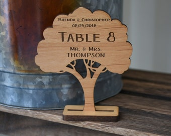 Personalized Woodland Wedding Tree Table Decorations, Place Cards.