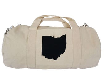 Natural Cotton Canvas Duffel Bag with 'Ohio State' in Black Ink