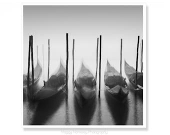 Black and White Wall Art for Living room, Photograph of Gondolas in Venice Italy, Venice Art Print, Wall Art Decor