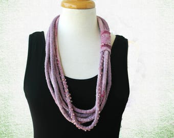 Purple Beads Necklace - Fiber Art Necklace - Amethyst - Beaded Fabric Necklace