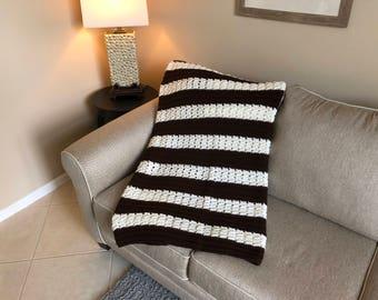 Brown & White Herringbone Pattern Afghan