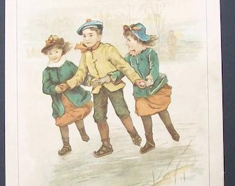 "Vintage Nursery Print ""Skating"" by Emily Harding"