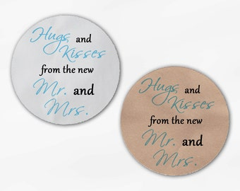 Hugs and Kisses From the New Mr. and Mrs. Wedding Favor Stickers - Aqua and Black Custom Round Labels (2015)