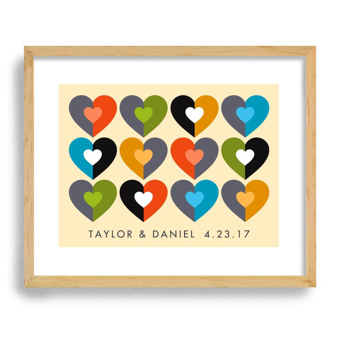 Mid Century Modern Wedding Gift Art Print 11x14 Heart Decor
