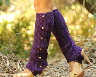 Leg Warmers with Stirrups - Deep Purple - Lots of Colors