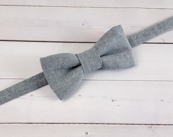 Linen Bow Tie, Toddler Bow Tie, Baby Bow Tie, Grey Bow Tie, Boys Bow Tie, Wedding Bow Tie, Mens Bow Tie, Bowtie, Ring Bearer Bow Tie, Suit