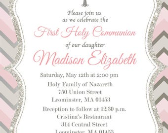 First Communion Invitation, Girl, Silver, Pink - Printable or Printed