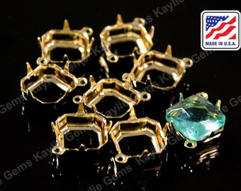 24K Gold Plated Brass Prong Setting 10x10 Octagon Open Back 1 Ring 2 Ring - 6 pcs