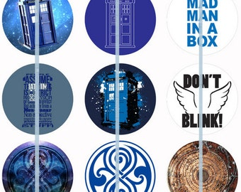 One Inch Dr Who Tardis Pins, Flatbacks or Magnets 12ct. Set A