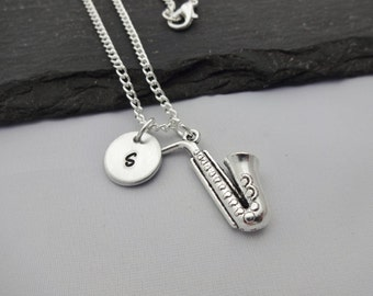 Saxophone Necklace, Initial Saxophone Necklace, Music Necklace, Initial Charm Necklace, Charm Necklace, Music Gift, Saxophone Gift, Musical