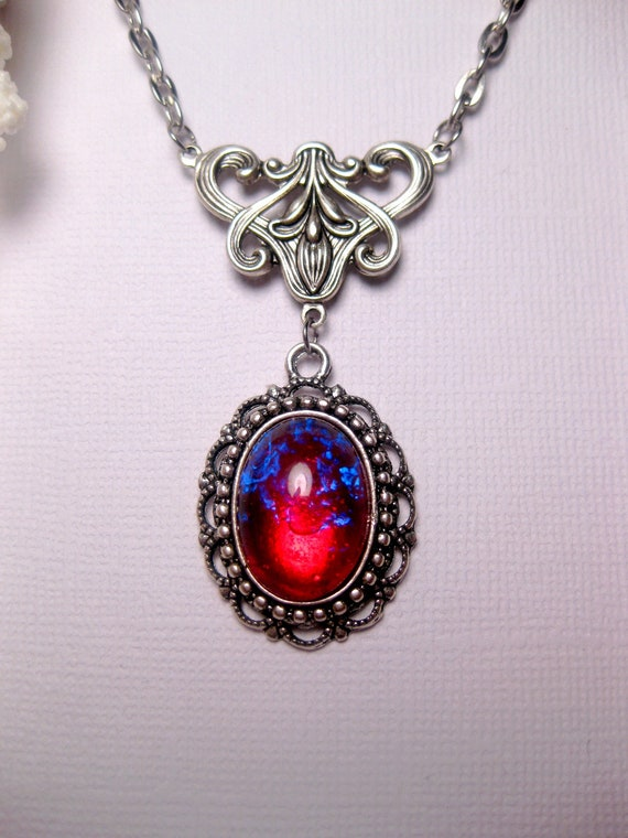 Dragons breath necklace fire opal necklace victorian aloadofball Choice Image