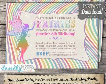 Rainbow Fairy Invitation - INSTANT DOWNLOAD - Editable & Printable Fairies Birthday Party Invite by Sassaby Parties