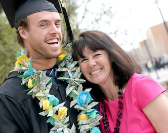 Graduation Commencement Gift - Flower Lei with money and paper flowers - Custom Colors