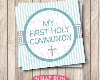 Instant Download . Printable My First Holy Communion Tags . Printable First Communion Tags, Printable Communion Tags, Boy Communion Tags