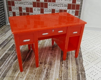 Renwal Desk Red Drawers Missing  Dollhouse Toy Furniture Hard Plastic