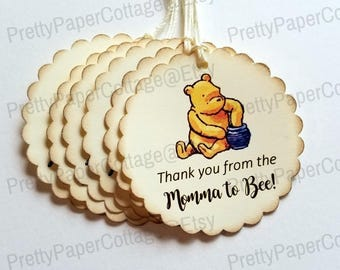 Mommy to Bee, Winnie The Pooh Baby Shower Tags, Thank You Tags, Vintage Inspired, Honey Jar, Honey Pot, 2 inches, See Other Options