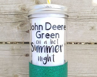 Glitter Dipped Mason Jar* John Deere Green* Glass Drinkware* Summer time