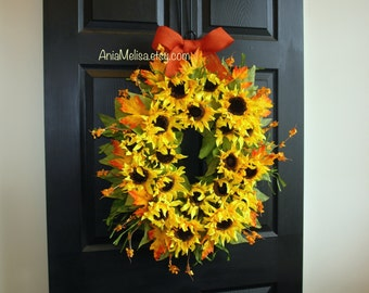 fall wreath 30'' fall wreaths for front door wreaths autumn wreaths sunflowers wreaths summer wreaths outdoor wreaths