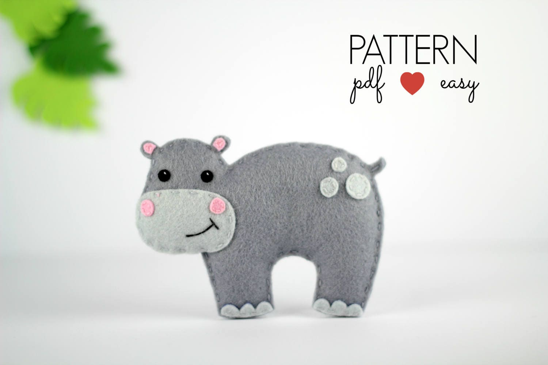 Felt Pattern Hippo Sewing Pattern Felt Animal Pattern