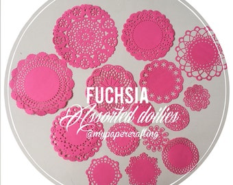 Fuchsia assorted Doily paper for Scrapbooks, card making, wedding decoration / pack