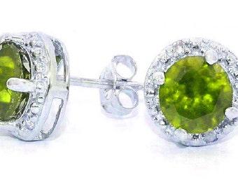 14Kt White Gold Peridot & Diamond Round Stud Earrings