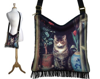 Hippie Bag Black Hobo Purse Crossbody Bag Tabby Cat Lover Gift Gyspy Boho Fringe Bag, Cat in Cottage Window Ralph Hedley red blue RTS