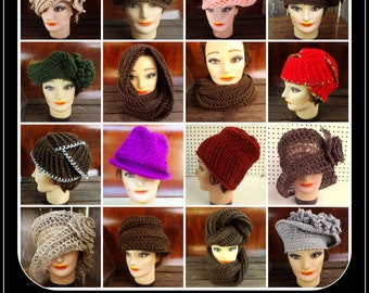 12 Patterns Crochet Pattern, Crochet Hat Patterns for Women, Crochet Patterns for Scarves, Permission to Sell Offline