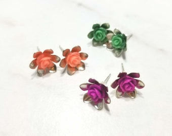 Resin Rose stud earring sets in various colors silver plated