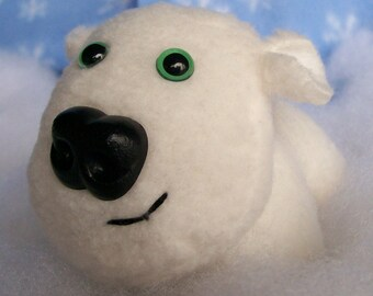 Little Polar Puppy / Polar Bear Fleece Plush Stuffed Animal   Winter / Christmas / Dog / Artic / Plushi / Stuffie / Hanukkah / Holiday