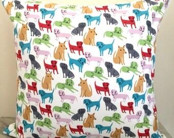 Multicoloured Puppy Dog Labrador Canvas Cushion Pillow Cover