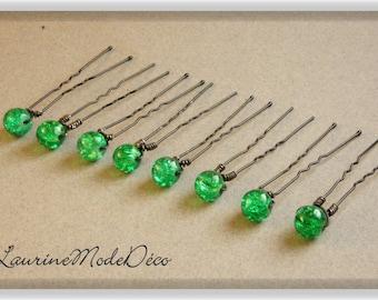 Green Crackle glass beads 8 hair pins