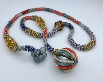 Beaded Rope Necklace Scarf-Style with Glass
