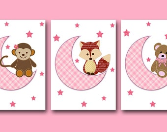 Art for Children Kids Wall Art Baby Girl Room Decor Baby Nursery Decor Baby Girl Nursery art set of 3 bear foxes monkey rose decoration