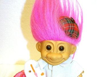 "Troll Doll - Vintage Russ Troll Doll - Artist / Painter - Pink Hair Troll 5"" - Vintage Russ Berrie Troll - Collectors Troll"