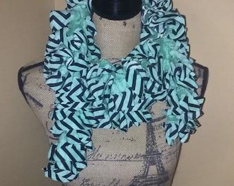 Mint Green Ruffle Scarf, Handmade, Crochet