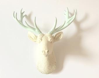CREAM - ICICLE BLUE Small Deer Head Faux Taxidermy stag head off white deer head / mounted deer head / mini animal head / faux taxidermie